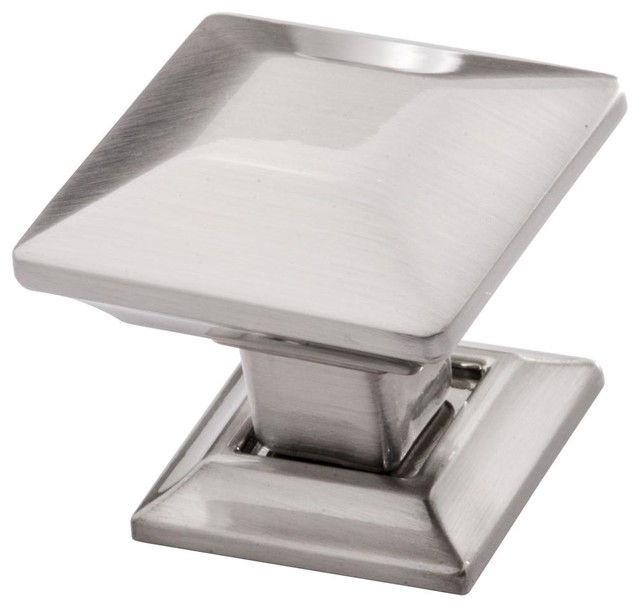 Square satin nickel cabinet knob by southern hills for Square kitchen cabinet knobs