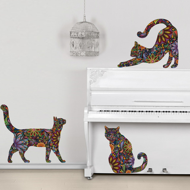 my wonderful walls cat wall sticker trio set of 3 floral cat decals