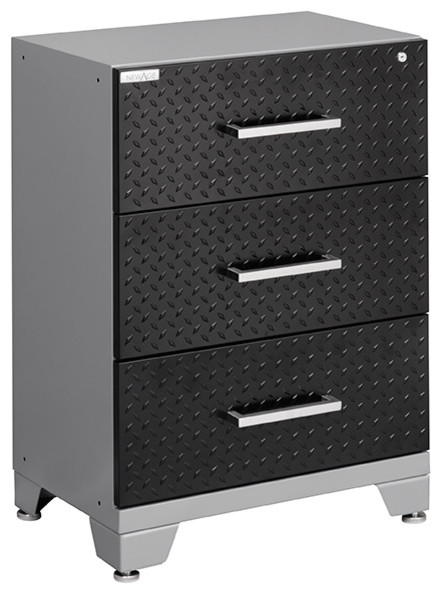 NewAge Performance Diamond Plate 3 Drawer Tool Cabinet, Black - Industrial - Garage And Tool ...