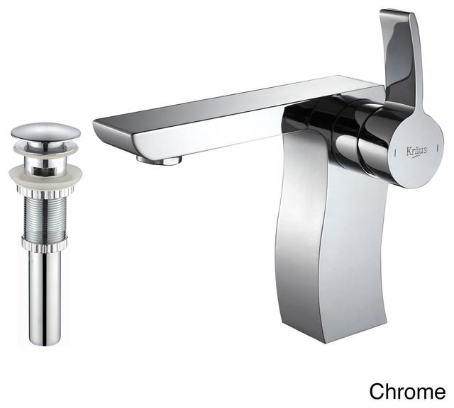 Kraus Sonus Single Lever Bas Inch Faucet Pop Up Drain Withoverflow Chrome Contemporary