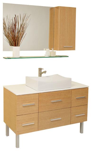 Fantastic  Natural Wood Modern Double Vessel Sink Bathroom Vanity  Bathroom
