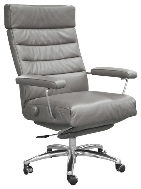 Adele Grey Leather Executive Reclining Office Chair Contemporary Recliner Chairs