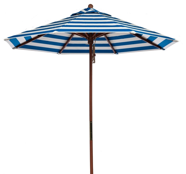 9 39 blue and white stripe market umbrella with wood pole