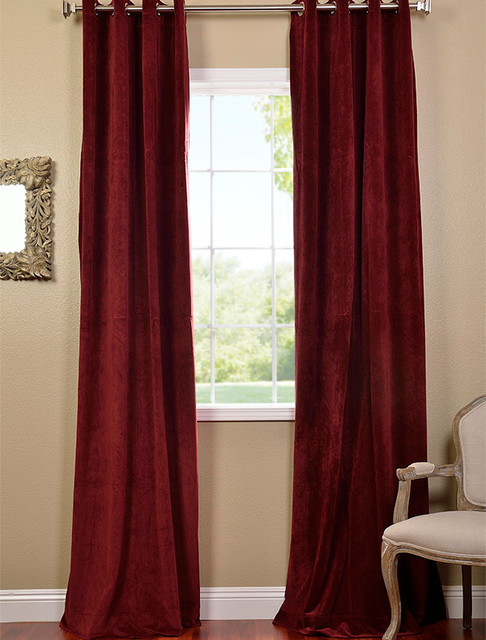 burgundy grommet velvet blackout curtain contemporary curtains san francisco by half. Black Bedroom Furniture Sets. Home Design Ideas