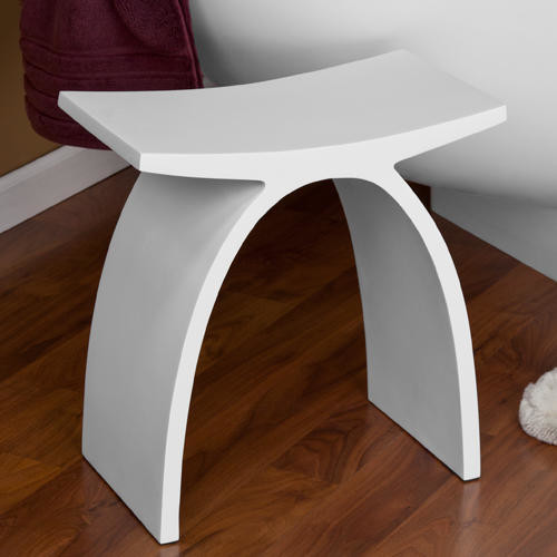 Dahlia Resin Bath Stool - White Matte Finish - Modern - Vanity Stools And Benches - by Signature ...