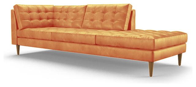 Eliot leather bumper chaise brighton sunset orange for Chaise longue orange