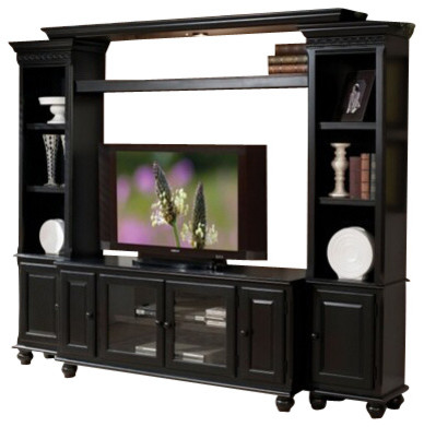 4-Piece Ferla Black Finish Wood Slim Profile Entertainment Center Wall Unit - Transitional ...