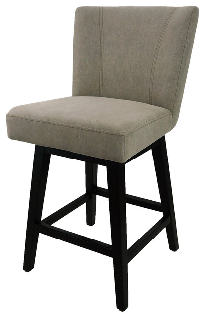 swivel counter stool with back in vintage linen fabric transitional bar stools and counter. Black Bedroom Furniture Sets. Home Design Ideas