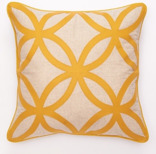 Geometric Felt Design Decorative Pillows - Yellow - Modern - Scatter Cushions - by MyLuxuryDecor.com