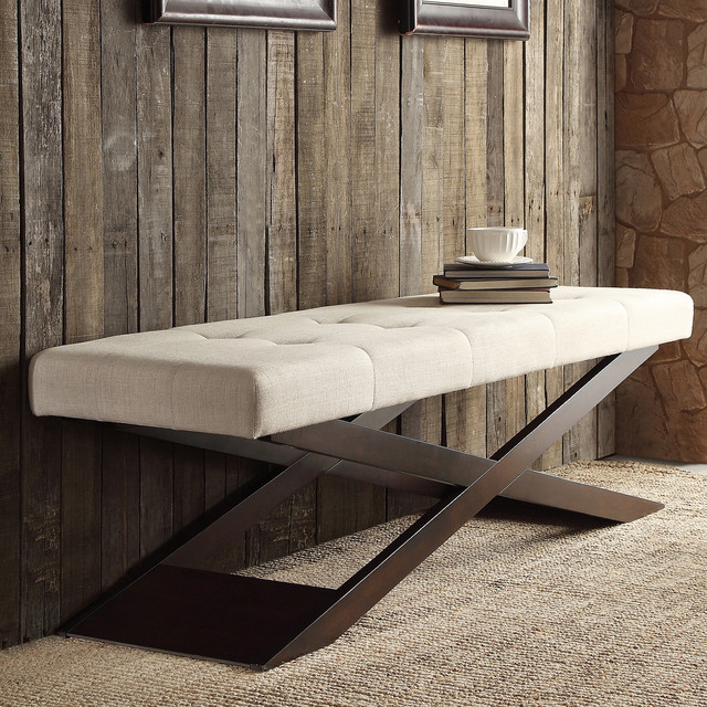 Upholstered Bench Beige: INSPIRE Q Bosworth Beige Linen Wood X Base Bench