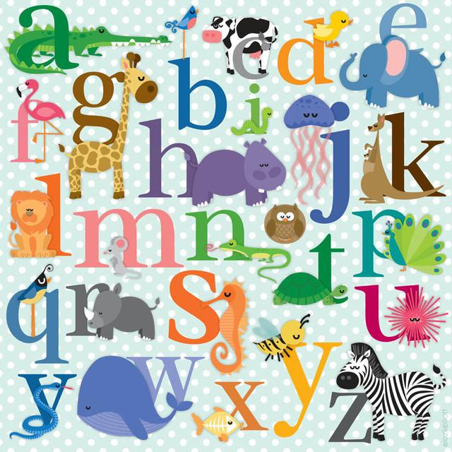 alphabet animals wall mural contemporary wallpaper