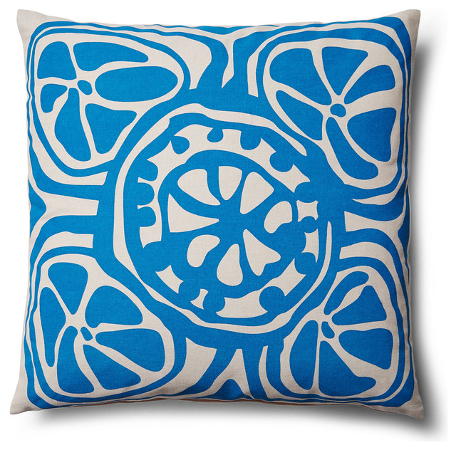 Modern Blue Outdoor Pillows : Indoor Outdoor Modern Floral Decorative throw Pillow, Blue, 20x20, Contemporary transitional ...