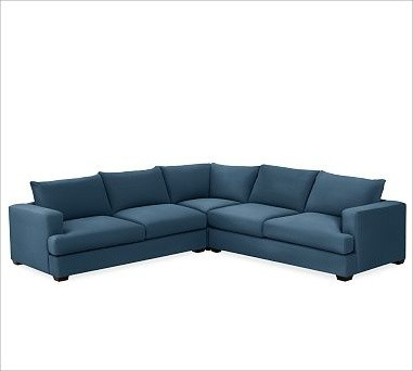 Hampton Upholstered 3 Piece L Shaped Sectional Brushed
