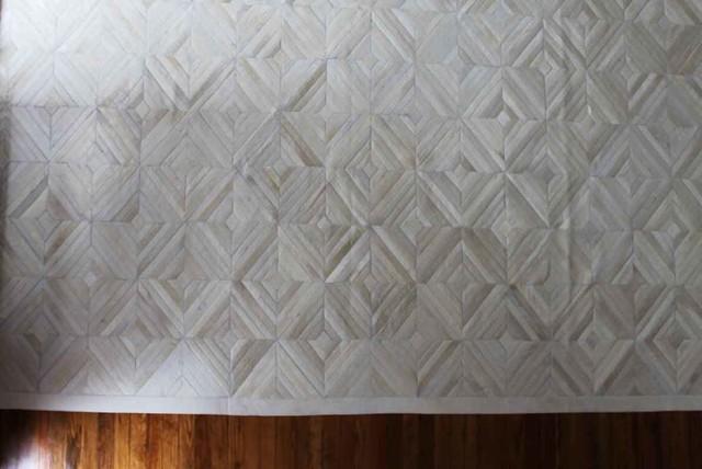 White Cowhide Patchwork Rug Diamond Design No 294