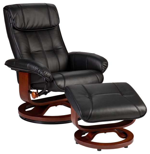 bryce bonded leather recliner and ottoman black