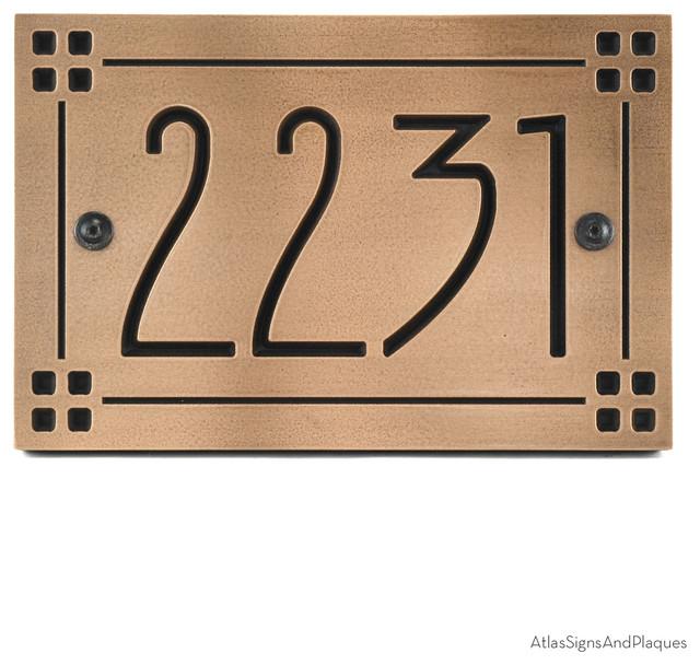 american craftsman address plaque 12 x 8 in recessed. Black Bedroom Furniture Sets. Home Design Ideas