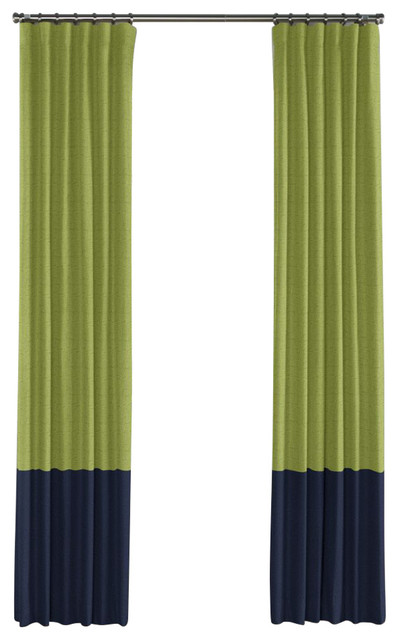 Moss Green And Navy Linen Color Block Curtain Single