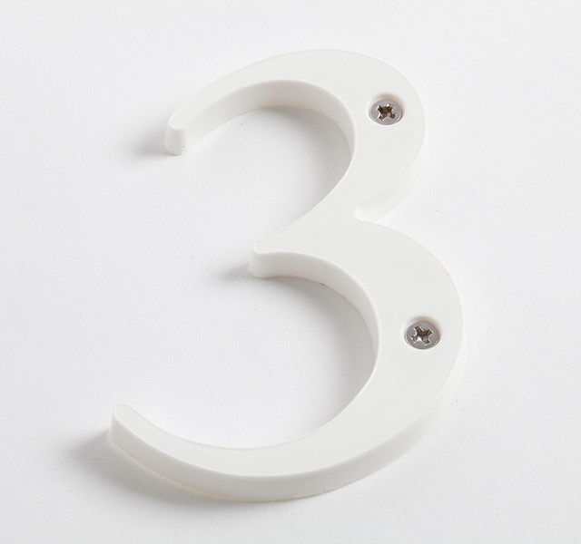 Sandleford 85mm white plastic numeral contemporary for Plastic house letters