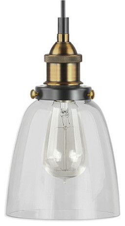 Fiorentino Industrial Pendant Lamp, Glass Shade, Antique Brass