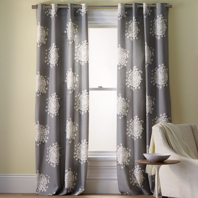 Queen anne 39 s lace printed panel contemporary curtains for West elm window treatments