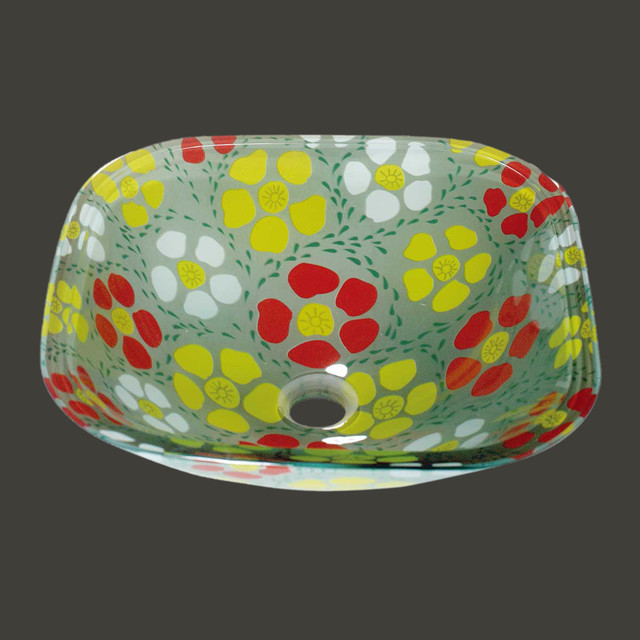 Vessel Sinks Colored Glass Sunflower Square Vessel Sink