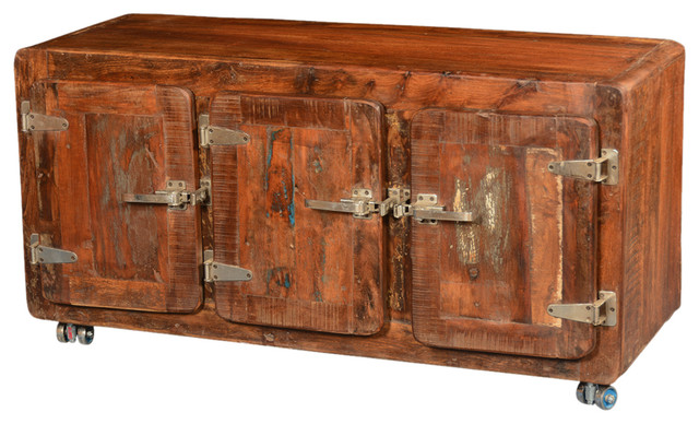 Reclaimed Wood Rustic Montana Storage Cabinet with Rolling Wheels - Industrial - Storage ...
