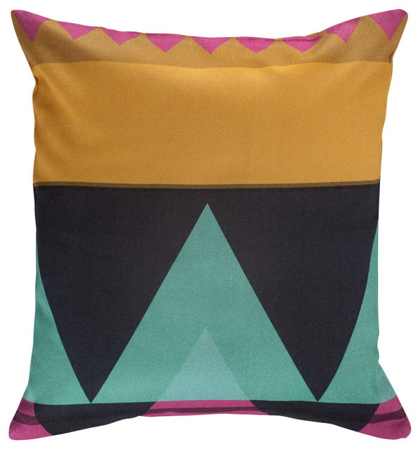 Fuschia Throw Pillows : Savanna Pillow Cover, Fuschia/Gold Multi - Contemporary - Decorative Pillows - by Nine Space