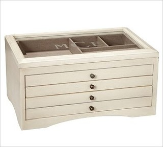 Andover Jewelry Box Large Antique White Traditional