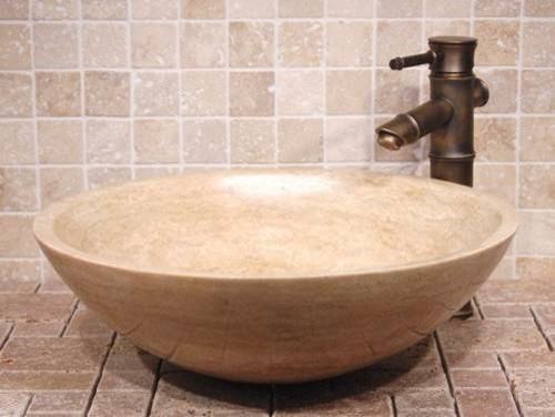 Travertine sinks kitchen bathroom for Travertine sinks bathroom