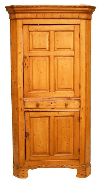 Rustic French Country Pine Corner Cupboard Cabinet - Pantry Cabinets ...