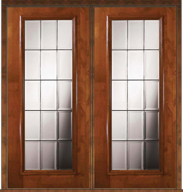 Prehung exterior double door 80 alder french full lite for Full glass patio door