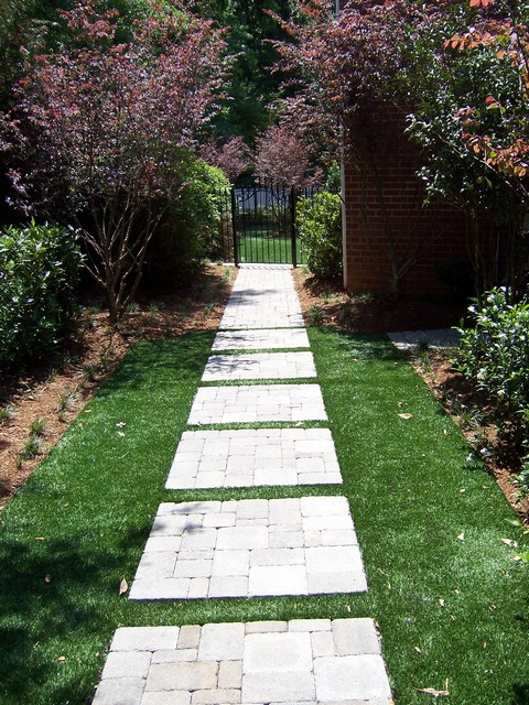 modern landscape design with stepping stone | Paver Stepping Stone Entry Pathway