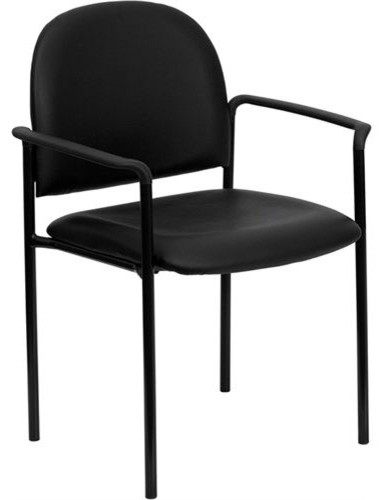 Flash furniture black vinyl comfortable stackable steel for Comfortable modern dining chairs