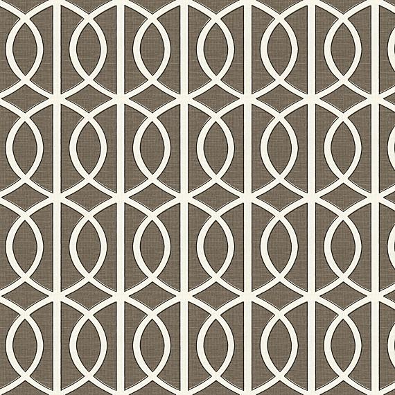 Taupe Modern Trellis Linen Fabric Modern Drapery Fabric By Loom Decor