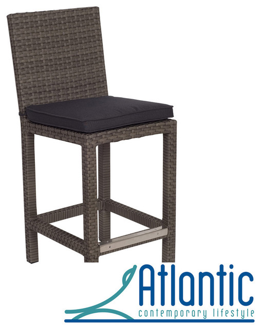 Olivia Grey Wicker Outdoor Barstools Set Of 2