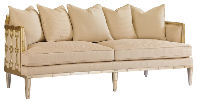 Caracole caramel leaf upholstered sofa transitional sofas for Bartlett caramel left corner chaise sectional