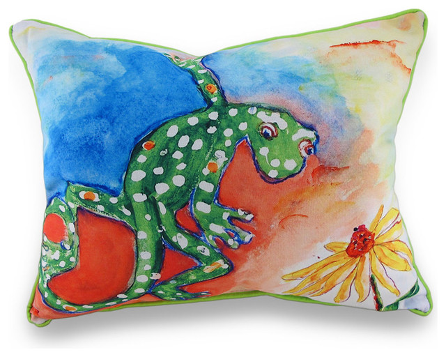 Betsy Drake Colorful Gecko Indoor/Outdoor Decorative Throw Pillow 16in.X20in. - Tropical ...