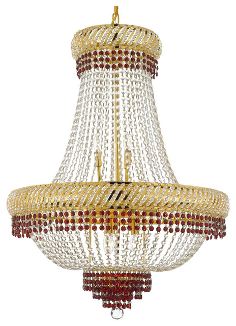 French Empire Crystal Chandelier Lighting Trimmed With Ruby Red Crystal Traditional