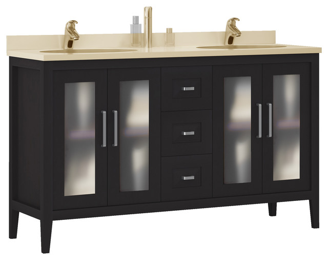 Macral Solid Wood 60 Double Sink Bathroom Vanity Espresso