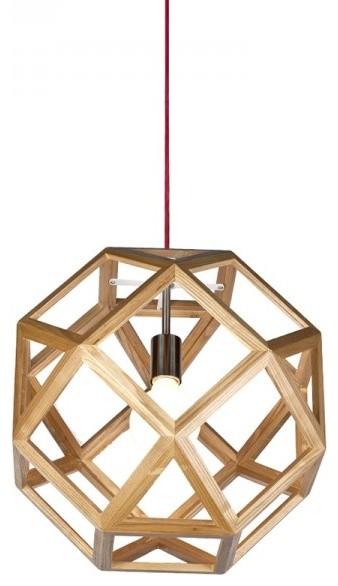Geometry Wooden Shade Interior Pendant Light