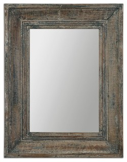 Gray Distressed Wall Mirror Blue Green Aged Wood Rustic Ivory Home Decor