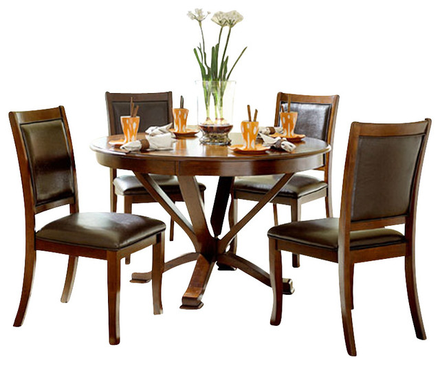 Homelegance helena 5 piece round dining room set in cherry for Traditional round dining room sets