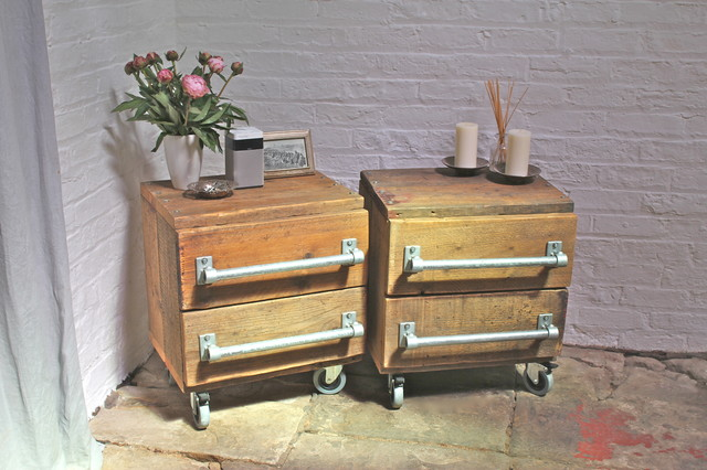 George pair of industrial reclaimed scaffolding board bedside drawers with st - Table de nuit industrielle ...