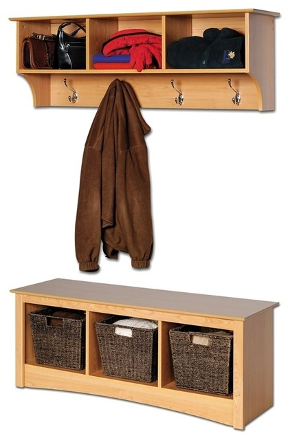 Entryway Wall Mount Coat Rack W Shoe Storage Contemporary Indoor Benches By Shopladder