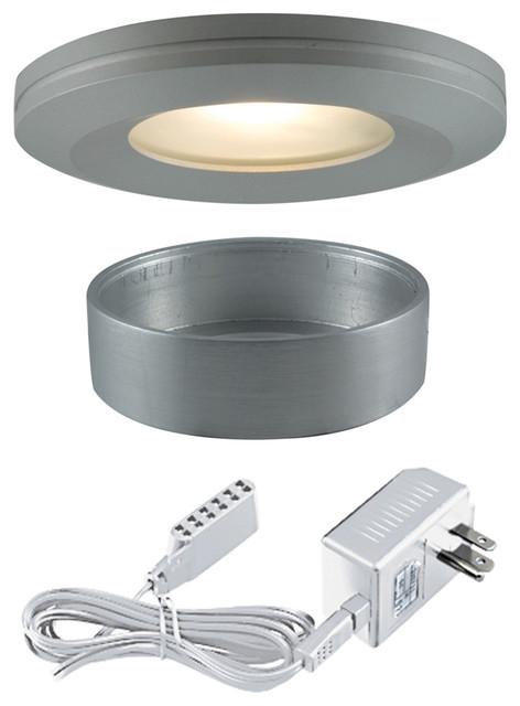 3 light halogen beveled edge slim disk brushed aluminum contemporary undercabinet lighting. Black Bedroom Furniture Sets. Home Design Ideas