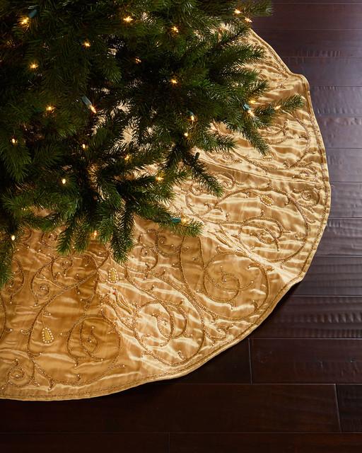 Sudha pennathur gold velvet christmas tree skirt