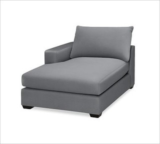 Hampton Upholstered Left Arm Chaise Twill Metal Gray Traditional Indoor