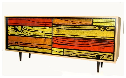 Wrongwoods Small Sideboard Red Yellow Eclectic