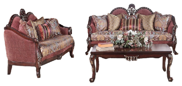 Vienna 2 Piece Traditional Sofa Set Burgundy With Floral