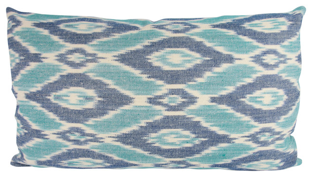 Turquoise Navy Ikat Lumbar Throw Pillow With Feather Down Insert - Contemporary - Decorative ...